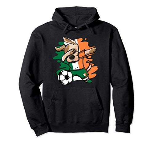 Divertente Dabbing Cane Irlanda Calcio - Bandiera Irlandese Felpa con Cappuccio