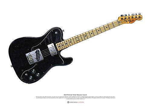 George Morgan Illustration Fender Telecaster Custom Keith Richards Cartel del Arte tamaño...