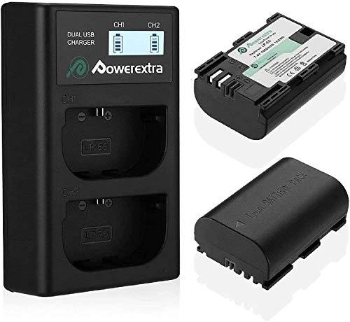 Powerextra Batería de Repuesto para Canon LP-E6 y LP-E6N con Cargador Pantalla LCD USB para Canon EOS 80D 6D 7D 70D 60D 5D Mark III 5D Mark II BG-E14 BG-E11 BG-E9 BG-E7 LC-E6 BG-E6