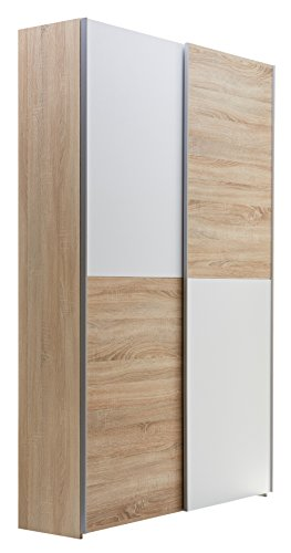 Stella Trading Schwebetürenschrank 125 cm breit Garderobenhochschrank weiß, Eiche Sonoma Nachbildung, BxHxT 125 x 195 x 38 cm