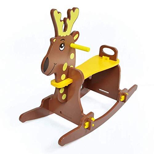 JWDYA Baby Rocking Horse, Dark Brown Wooden Rocking Chair To Sit, Toddler Rocking Horse Suitable for Toddlers