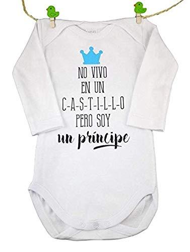 BODY BEBE ORIGINAL' NO VIVO EN UN CASTILLO PERO SOY UN PRINCIPE'. TALLA 3 MESES AZUL REGALO IDEAL...