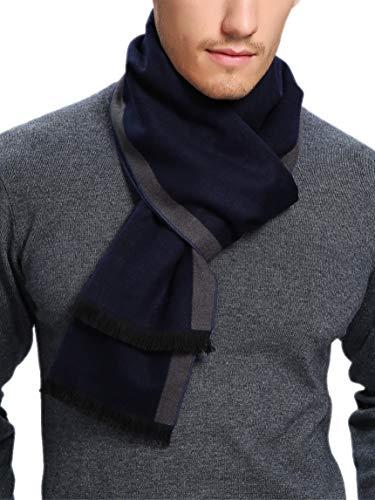 prettystern Sciarpa in seta da uomo Fleece Velo effetto velluto effetto pile caldo come lana grigio blu a righe Zs02