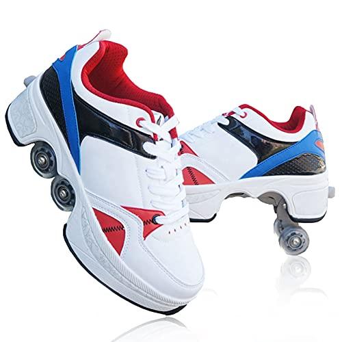 TAOXUE Patines Retráctiles para Mujer Zapatos de Patinaje para Niñas al Aire Libre Zapatos con Ruedas de Deformación Zapatos para Caminar Automáticos