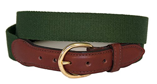 Barrons-Hunter Surcingle Belt with Brown Domed Leather and Solid Brass Buckle,Hunter Green (34)