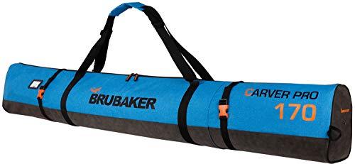 BRUBAKER Carver Performance Bolsa Porta esquís - Bolsa Deporte de Nieve para Transportar un par de esquís y Bastones - Funda Reforzada - Azul Negro - 170 cm