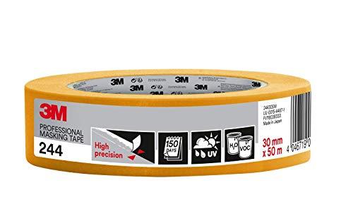 3M 244 Profi Malerband für scharfe Farbkanten, UV-beständig, innen und außen, 30 mm x 50 m
