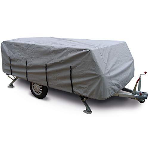 Faltwohnwagen Abdeckung mit Aufbewahrungstasche Winter Garage - Wohnwagen Schutzhülle für Pennine Fiesta - Abdeckplane - Zeltanhänger Garage - grau - robust - atmungsaktiv - 274x183x100 - Schutzhaube