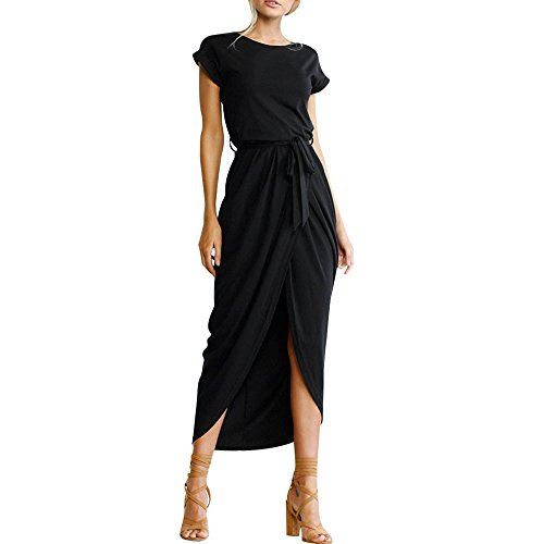 Böhmische Frauen Langes Kleid Front Split Unregelmäßig kurz Ärmelloses Kleid Party Party Strandkleid Strandrock URIBAKY