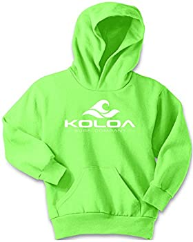 Koloa Wave Logo Youth Soft and Cozy Hoodies Size L-Neon Green
