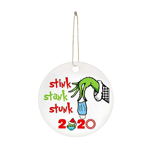 2020 Stink Stank Stunk Christmas Ornaments, Grinch Christmas Decor, Personalize Grinch Ornament, Christmas Tree Decoration Christmas Quarantine Decorations, Creative Wood Gift for Family Friends (I)
