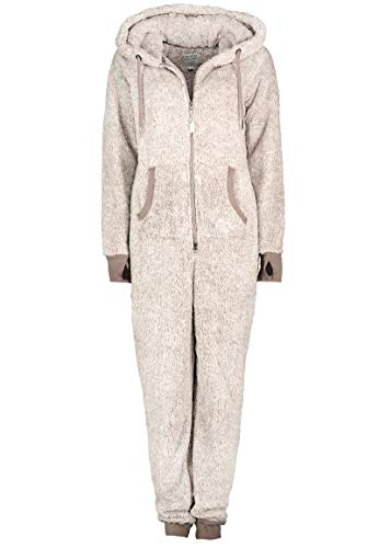 Eight2Nine Damen Jumpsuit Overall aus Teddy Fleece mit Ohren Light-grey1 S/M