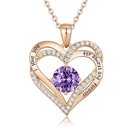CDE 925 Sterling Silber Roségold Herz Halskette, 5A Zirkonia Birthstone Anhänger Kette Damen Muttertag Schmuck Geschenk mit Box (Roségold Febru)