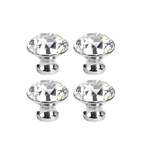 LOVCCIE Perillas De Cristal, Manija De Diamante De Cristal Cajón De Armario Moderno Y Simple Manija De Diamante Brillante De Un Solo Orificio De 3 Cm