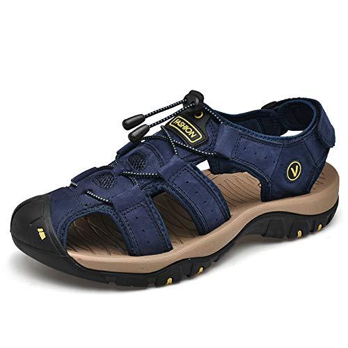 RASHLD De Los Hombres Talla Grande Sandalias, Antideslizante Cuero Zapatos, Ideal para Viajar En Verano,Azul,48