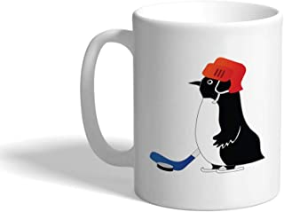 Custom Funny Coffee Mug Coffee Cup Penguin Playing Hockey Cartoon Character White Ceramic Tea Cup 11 OZ Design Only