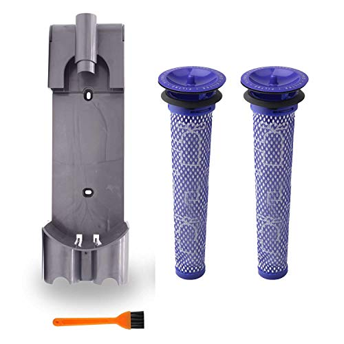Coodss Replacement Docking Station Part Kit - 1 Wall Mount Bracket 2 Pre Filters Parts for Dyson V7 V8 Series Handheld - Replenishment Vacuum Cleaner Docking Station Filter Accessory