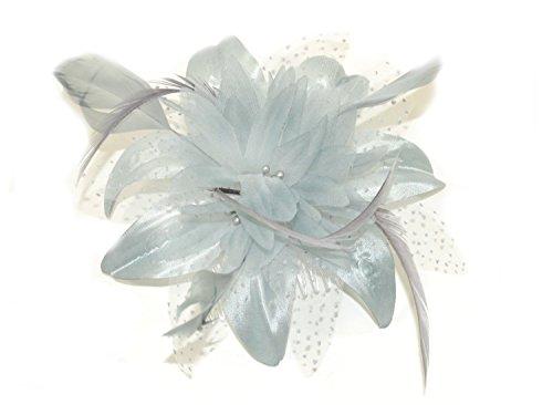 Peigne avec fleur en mousseline et plumes Gris argent Idéal pour les mariages, événements mondains et toutes autres occasions particulières