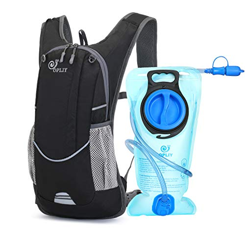 Opliy Hydration PackHydration Backpack with 2L Hydration Bladder Lightweight Running Water Backpack for Women Men Kids Black