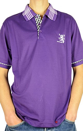 I Luv Ltd Mens Scotland Lion Tartan Collar Polo Shirt Purple 2X-Large
