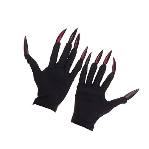 Holibanna Halloween-Handschuhe mit Nägeln Halloween-Nägel Halloween-Partykostümhandschuhe mit Langen Fingernägeln Kostümzubehör