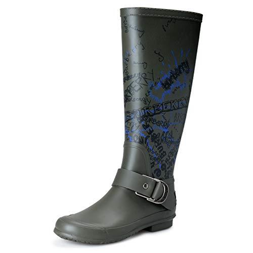 BURBERRY Women's Military Green Rainboots Shoes Sz US 6 IT 36