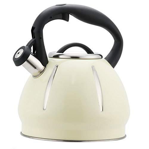 tea kettle Bouilloire À Thé, en Acier Inoxydable avec Whistling Teapot Liaison Résistant À La Chaleur Poignée, Convient for Infusion du Café Et du Lait, 3L Grande Capacité (Couleur : White)