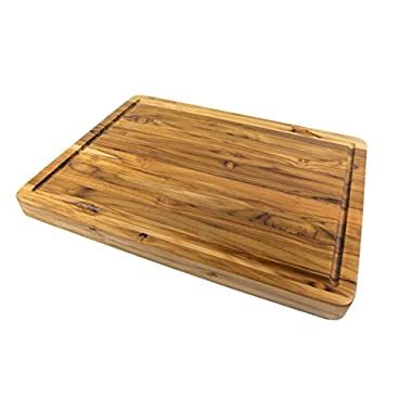 Terra Teak Wooden Cutting Board with Juice Well - Premium Eco Friendly Teak for Serious Chefs, Large 20 x 15 x 1.25 Inch
