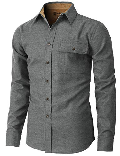H2H Mens Casual Slim Fit Shirts Lon…
