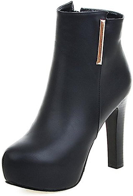 XZZ  Damen-Stiefel-Kleid-Kunstleder-Blockabsatz-Plateau   Modische Stiefel-Schwarz   Grau  | Moderne Muster