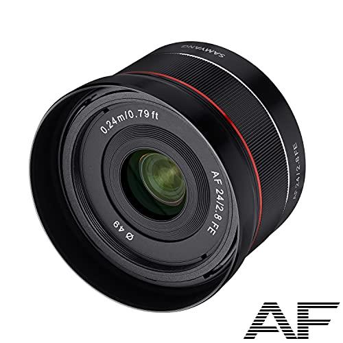 Samyang AF 24mm F2,8 FE für Sony E Vollformat und APS-C Objektiv I Pancake Weitwinkelobjektiv mit 82,1° Bildwinkel und schnellem Autofokus I Festbrennweite für Sony E Mount Alpha A7C, A7 III, A6100 u.a.