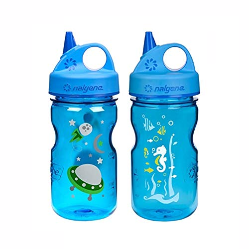 Nalgene Grip-N-Gulp Kids / Childrens Tritan Water Bottles 12oz - 2 Bottle Combo Pack - 3 Inches in Diameter by 7.75 Inches Tall (12oz, Set of 2, Blue Space Ship and Blue Seahorse)