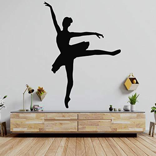 WERWN Ballet Pared Ballet Gimnasia Pointe Zapatos Pegatinas de Pared Estudio de Baile decoración Vinilo Arte