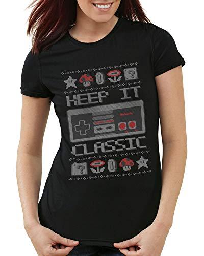 style3 Keep it Classic Suéter de Navidad Camiseta para Mujer T-Shirt NES T-Shirt Ugly Sweater x-mas...