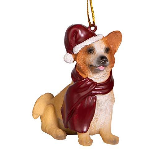 Design Toscano Christmas Xmas Welsh Corgi Holiday Dog Ornaments, Full Color