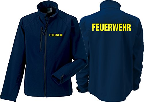 feuer1 Veste Softshell (Medium) Navy, Pompiers Jaune Fluo L Bleu Marine