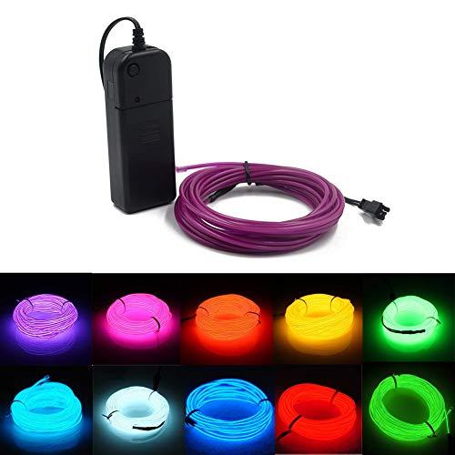 El Wire 3m/9ft Flexibles Neonlicht Elektrolumineszenzlicht mit Akku, verwendet für Party, Halloween Dekoration (Lila)