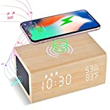 Digital Alarm Clock with 10W Wireless Charging and Bluetooth Speaker,LAOPAO 3 Alarm Settings,Sound Control,Humidity & Temperature Detect, Wood Made Electric Clocks for Bedroom Living Room Kids Bedside