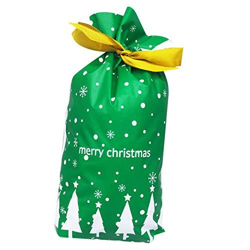 Fransande 50 bolsas de regalo para árbol de Navidad, bolsa de Santa impresa, bolsa de embalaje de plástico verde