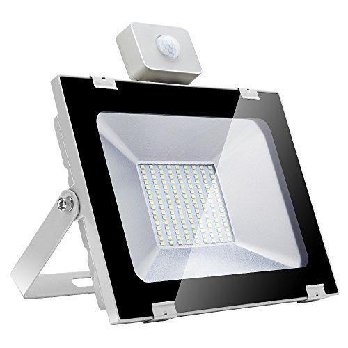 100W Focos LED Exterior con Sensor de Movimiento Floodlight 8000lm Luz de Seguridad, Luz de Inundación Impermeable IP65 6500K Blanco frío, Proyector LED para Patio Garaje Taller[Clase energética A+]