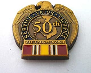 Pin for Hats - 50TH Anniversary Vietnam WAR National Defense Military Vet Hat Pin - Decoration for Clothes