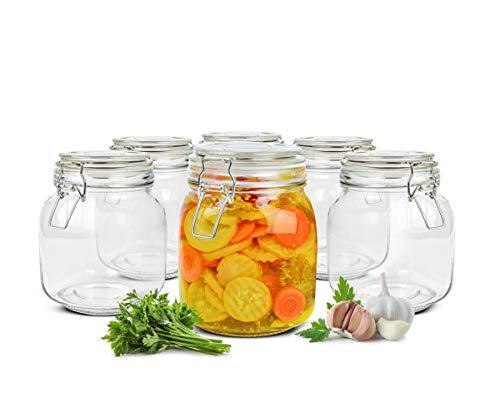 Sendez 6 Einmachgläser 1000ml mit Bügelverschluss Einmachglas Vorratsglas Vorratsdose Eckig