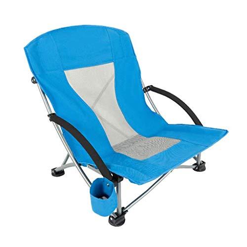 TQJ Silla Plegable Playa Silla De Camping con Portavasos Compacto Portátil Plegable Muebles De Camping Silla De Pesca, 2 Colores Sillal Plegable Camping (Color : Blue)