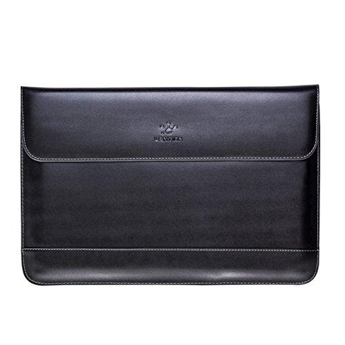 lention Hülle aus Spaltleder MacBook Air 13 (2009-2017), MacBook Pro (Retina, 13-Zoll, Ende 2012 bis Anfang 2015), Mehr 13-Zoll-Laptop und Notebook,Mit Magnetverschluss (Schwarz)