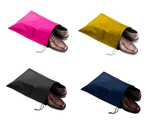 FashionBoutique Waterproof Nylon Shoe Bags- Set of 4/Two Drawstrings/Large Size 18.5(L) x13.4(W) inch/Color Multi-Coloured