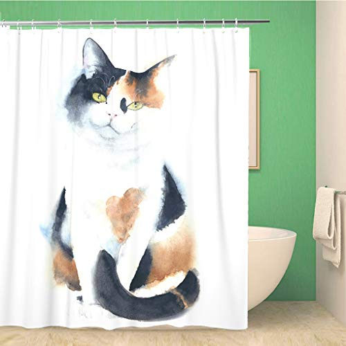 Aowced 66x72 Inches Shower Curtain Animal Cat Calico Breed Sitting Watercolor Painting Artistic Cute Waterproof Polyester Fabric Bath Bathroom Curtain Set with Hooks