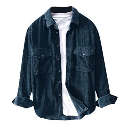 Azruma Herren Corduroy Jacke Freizeithemd Männer Hemd Langarm Regular Fit Casual Cordhemd Basic Revers mit Knöpfen Shirt Mantel M-3XL