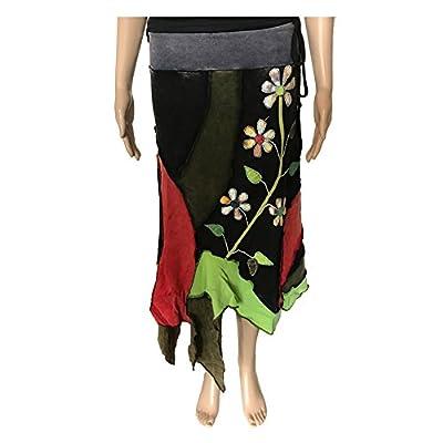 Rising International Inc Women's Plant and Flower Skirt Black