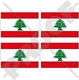LIBANON Libanesische Flagge Libanon, Mittlerer Osten, LIBANON 50mm Auto und Motorrad Aufkleber, x4 Vinyl Stickers