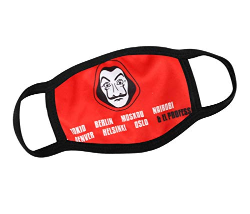 Alsino Mundschutzmaske Mundschutz Stoffmaske Maske Motiv lustig Mund- Nasenschutz Waschbar wechselbarer PM 2.5 Filter Herren, Damen, Kinder Verschiedene Motive (Haus des Geldes Gesicht 2)